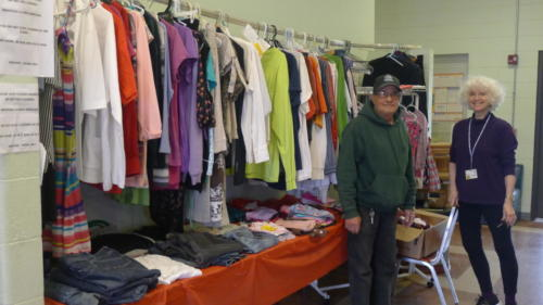 Our open Donation and clothing table.