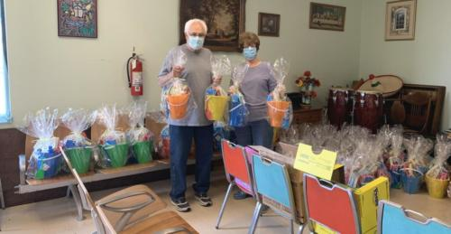 Preparing Easter baskets for the children!